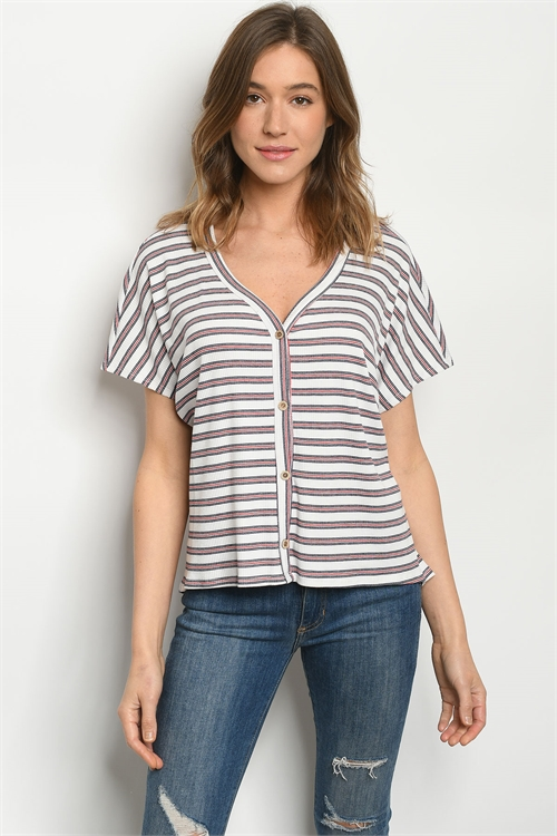 C20-B-2-T3309 WHITE RED STRIPES TOP 2-2-2