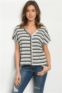 C17-B-2-T3309 GRAY BRICK STRIPES TOP 2-2-2