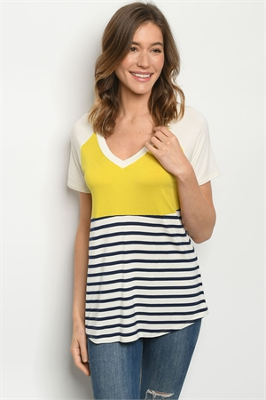 C15-B-1-T3323 MUSTARD NAVY STRIPES TOP 2-2-2