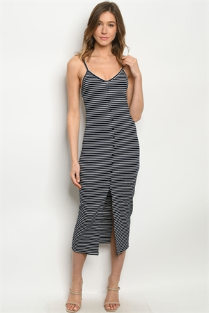 S12-6-2-D6053 NAVY STRIPES DRESS 2-2-2