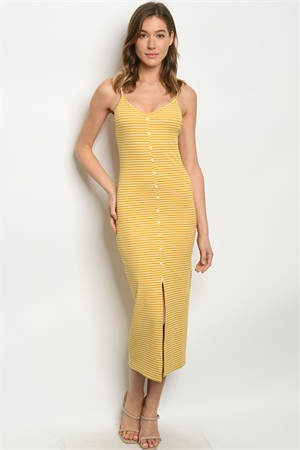 S12-5-1-D6053 MUSTARD STRIPES DRESS 2-2-2