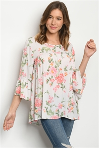 C84-A-1-T1612099 OFF WHITE FLORAL TOP 2-2-2