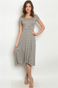 C97-A-1-D1801159 OATMEAL BLACK STRIPES DRESS 2-2-2