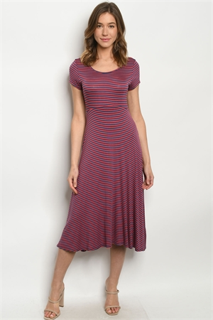 C99-A-1-D1801159 NAVY CORAL STRIPES DRESS 2-2-2