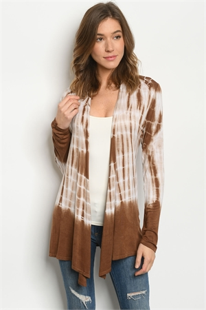 C99-B-1-C0313069 BROWN TIE DYE CARDIGAN 2-2-2