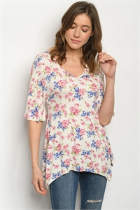 C90-A-1-T197141 IVORY FLORAL TOP 2-2-2