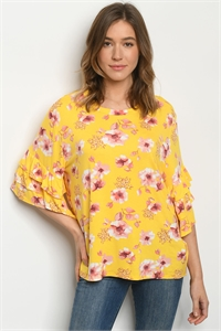 C100-B-1-T1709070 YELLOW FLORAL TOP 2-2-2