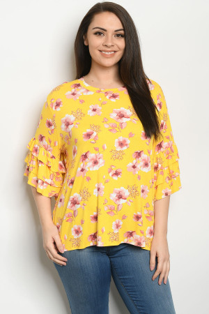 C85-A-1-T1709070X YELLOW FLORAL PLUS SIZE TOP 2-2-2