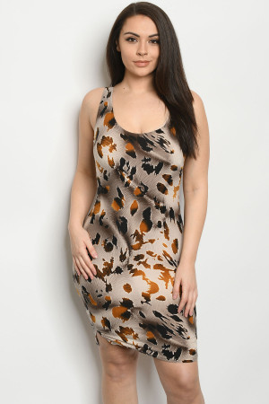 C13-A-1-D1414X TAUPE ANIMAL PRINT PLUS SIZE DRESS 2-1-1
