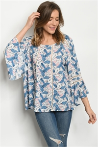 S13-11-3-T6997 PINK WITH FEATHER PRINT TOP 2-2-2