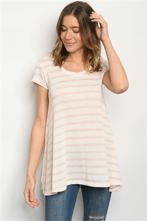 S13-7-3-T92 PEACH IVORY  STRIPES TOP 2-2-2