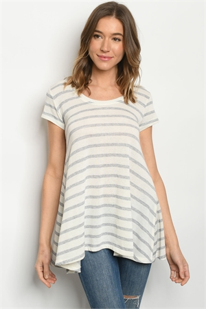 S13-7-3-T92 GRAY IVORY  STRIPES TOP 2-2-2