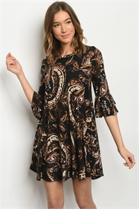 C76-A-1-D3811S BLACK PAISLEY PRINT DRESS 2-2-2