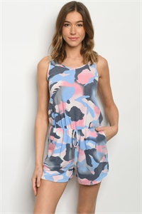 C80-A-1-R3959S BLUE CAMOUFLAGE ROMPER 2-2-2