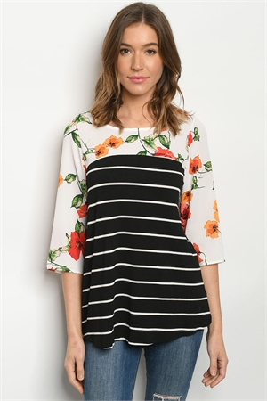 C37-B-1-T0310193 BLACK STRIPES FLORAL TOP 2-2-2-2