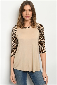 C27-A-1-T193761 TAUPE ANIMAL PRINT TOP 2-2-2-2-2