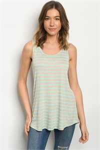 C15-B-1-T1801115 MINT TAN STRIPES TOP 2-2-2