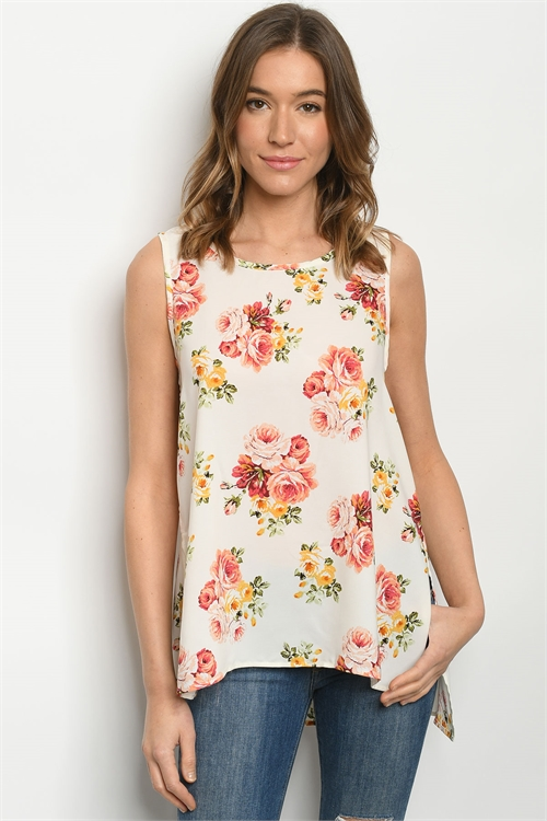 C13-B-1-T1114065 IVORY FLORAL TOP 2-2-2