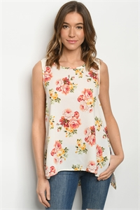 C14-B-1-T1114065 IVORY FLORAL TOP 2-3-2