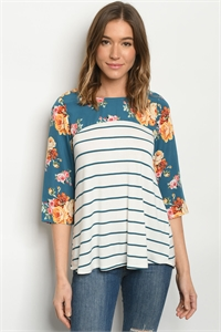 C25-B-1-T0310191 TEAL WHITE STRIPES FLORAL TOP 2-2-2-2