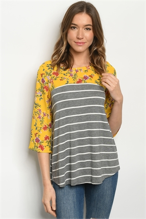C20-B-1-T0310192 MUSTARD GRAY STRIPES FLORAL TOP 3-2-2-2