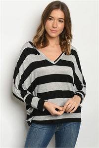 C20-B-1-T1801805 BLACK GRAY STRIPES TOP 1-2-2-2