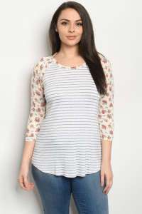C18-A-1-T1601163X CREAM WHITE STRIPES FLORAL PLUS SIZE TOP 2-3-3