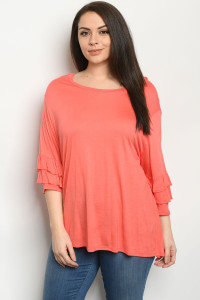 C19-A-1-T1709031X CORAL PLUS SIZE TOP 2-2-2