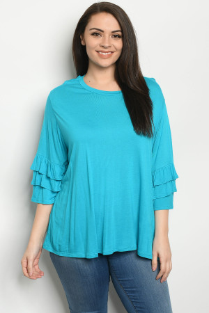 C18-A-1-T1709031X TURQUOISE PLUS SIZE TOP 2-3-2