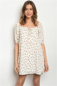 C5-A-1-D66679 IVORY FEATHER PRINT DRESS 2-2-2