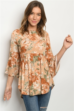 C7-A-1-T5008S TAUPE WITH FLOWER TOP 3-2-2