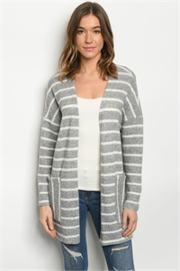 C68-A-2-C7424 GRAY STRIPES CARDIGAN 2-2-2