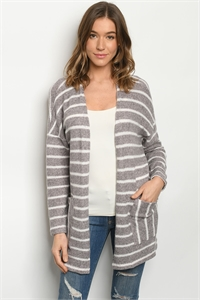 C68-A-3-C7424 LAVENDER STRIPES CARDIGAN 2-2-2
