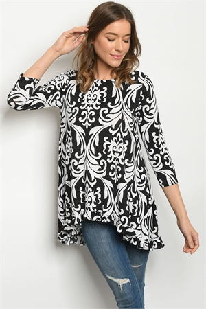 C49-A-1-T50827S BLACK WHITE TOP 3-2-2