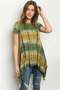 C73-A-3-T1403 OLIVE TIE DYE TOP 2-2-2