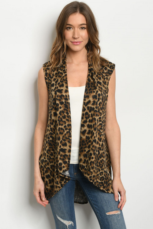 C19-A-1-C3887S TAUPE LEOPARD PRINT CARDIGAN 2-2-2