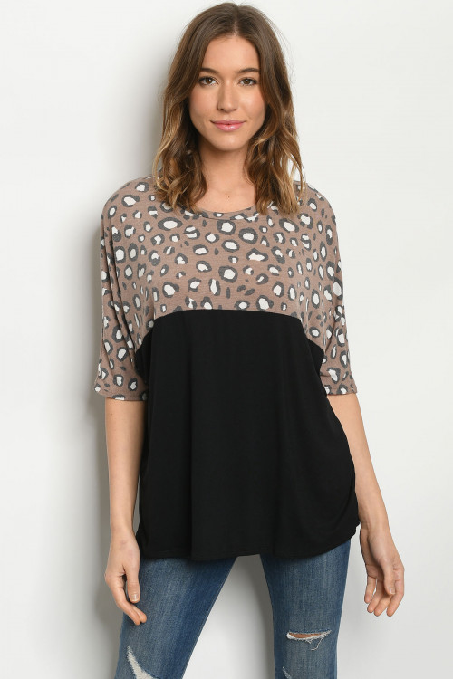 C10-B-1-T5127S BLACK BROWN ANIMAL PRINT TOP 3-2-2