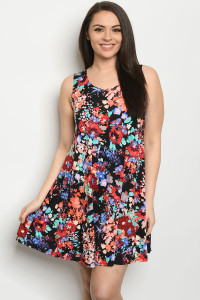 C97-A-1-D3158XS BLACK FLORAL PLUS SIZE DRESS 2-2-2