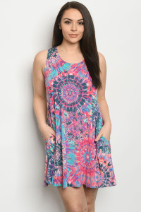 C97-A-1-D3158XS FUCHSIA MULTI PLUS SIZE DRESS 2-2-2