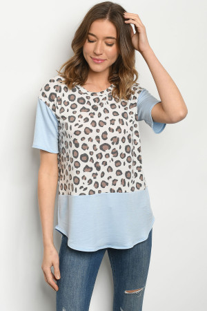 C2-B-2-T51485S BLUE ANIMAL PRINT TOP 2-2-2