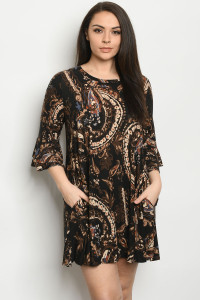 C85-A-1-D3811XS BLACK BROWN PLUS SIZE DRESS 2-2-2