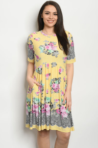 C81-A-1-D50088XS YELLOW FLORAL PLUS SIZE DRESS 2-2-2