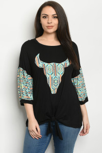 C77-A-3-T3914XS BLACK MINT PLUS SIZE TOP 2-2-2