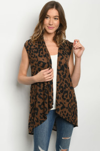 C20-A-2-C3887S BROWN ANIMAL PRINT CARDIGAN 2-2-2