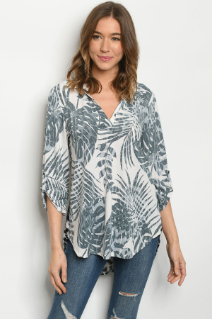 C21-A-1-T5153S OFF WHITE WITH LEAF PRINT TOP 3-2-2