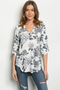 C16-A-3-T5153S OFF WHITE NAVY PRINT TOP 2-2-2