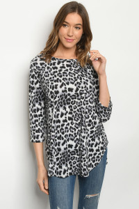 C25-B-1-T50957S BLACK GRAY ANIMAL PRINT TOP 3-2-2