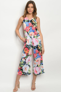 C26-A-2-J3962S BLACK MULTI FLORAL JUMPSUIT 2-2-2