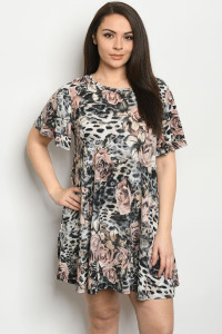 C73-A-1-D3948XS GRAY FLORAL PLUS SIZE DRESS 2-2-2