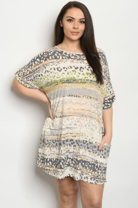 C63-A-1-D5173XS CREAM PRINT PLUS SIZE DRESS 2-2-2